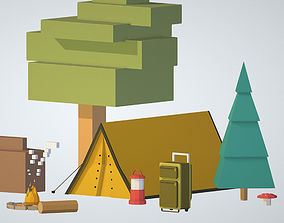3D model isometric objects tourism cooking BBQ tent fire