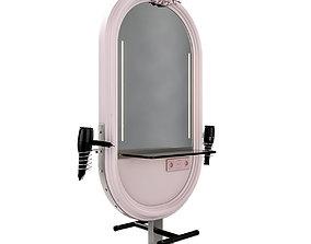 hairdresser table mirror pink nickel matte 3D model