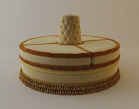 Round Upholstered Bench 3D model