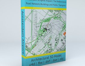 3D model Amsterdam Schiphol AMS Airport Roads Buildings 2