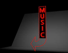 neon sign music 3D
