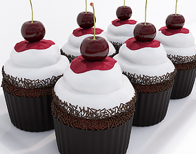 Cherry chocolate cupcakes 3D