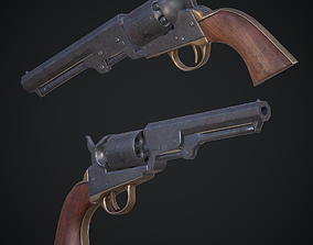 3D asset Colt 1849 Pocket Revolver Low Poly