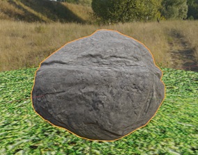 Low poly stone 3D model