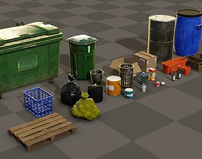 Pack of trash objects boxes bins and bottles 3D asset