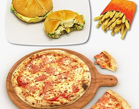 3D model Pizza Burger and French Fries Collection