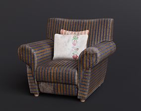 Old Fabric Armchair with Pillows 3D asset