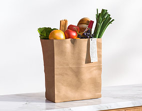Paper bag full of groceries 3D model