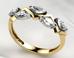 3D print model Five Marquises Gold Ring
