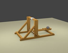 3D model animated Torsion catapult