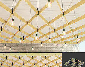 Wooden suspended ceiling 7 3D model