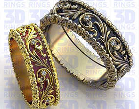 Enamel Wedding Rings 638 3D