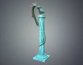 3D model Low Poly Stylize Pillar Dragon