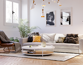 3D Realistic living room in native blend file