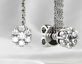 3D printable model Stud Gold Earrings sapphire