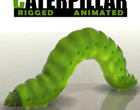 Green Caterpillar 3D asset animated
