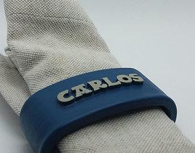 CARLOS Napkin Ring with lauburu 3D print model