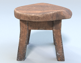 three 3D model game-ready Stool