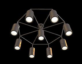 3D model Ceiling hung light fixture octagonal modern 1