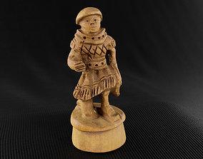 3D model Wood Chess Pawn Handmade - Chessboard A - White 3