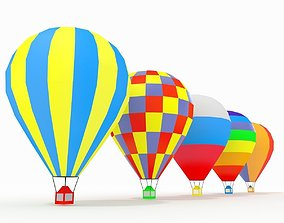 Hot Air Balloons Collection Slylized low-poly 3D model