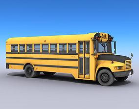School Bus 3D model low-poly