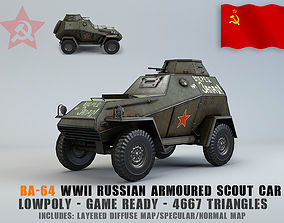 Low Poly BA 64 armored scout car 3D asset realtime
