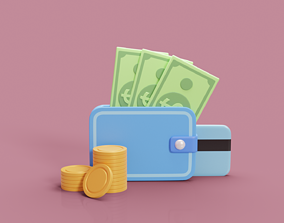 3D asset stylized cartoon wallet