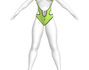 character 3D model Woman sporty swimsuit
