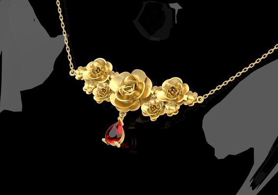 Flowers A001 Pendant Jewelry Gold 3D print model