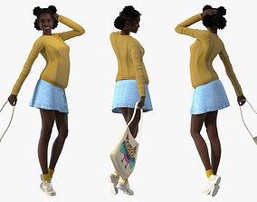 Street Style Black Teenage Girl 3D model