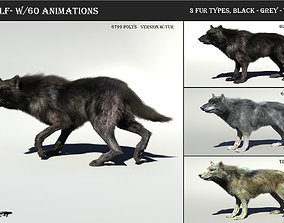 Wolf with hair and fur modifier 3D model