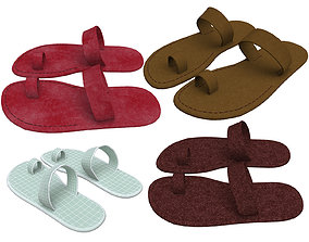 3D leather slippers