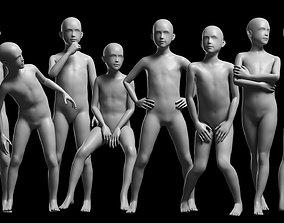 3D asset Animated Kid 7-20 Years Base Mesh V2 - 8 poses