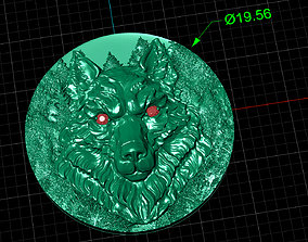 wolf bas-relief 3D print model