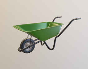 Wheelbarrow 3D model rigged
