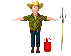 3D model Farmer 03 Cartoon