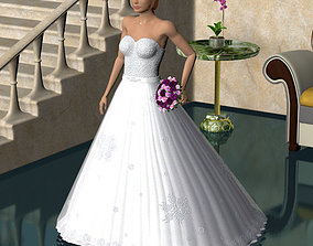 Wedding dress low poly 3D model
