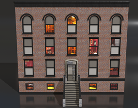 Building 1 - Brick Building with Blocks 3D model