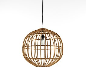 Country Pendant Lamp Natural Bamboo Cane Ball 50 3D model
