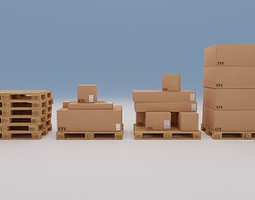 3D asset Wooden pallets with boxes - Pack 1 - Textured
