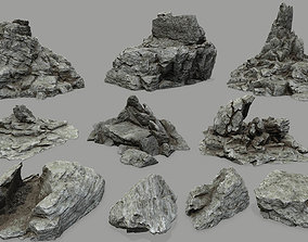 Rock set plant 3D model VR / AR ready
