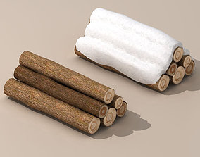Logs with snow 3D