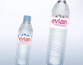 Pack of 2 bottle Evian 50cl and 150cl 3D model