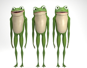 Cartoon frog 3D rigged