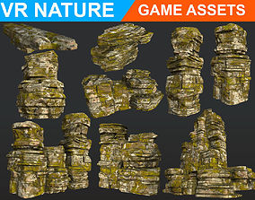 3D model Low poly Realistic Ancient Ruins Modular pack B