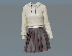 Hoodie and Skirt Model For Cute Girls 3D asset