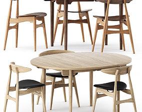 CH337 TABLE and CH33P CH33T CHAIR by Carl Hansen Son 3D