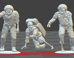 3D printable model 3 x ZOMBIE ASTRONAUTS Toy Soldiers