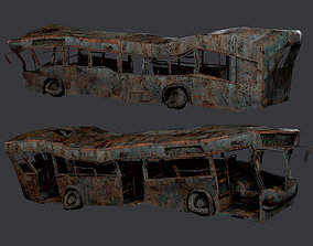 3D asset Apocalyptic Damaged Destroyed Vehicle Bus Game 2